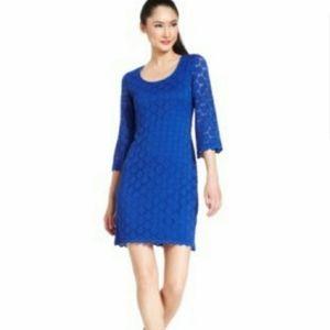 NWT Ronni Nicole Cobalt Blue Lace Shift Dress L